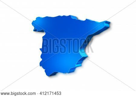 Isolated Blue 3d Map Of Spain A White Background. 3d Illustration Of A Map Of Spain.