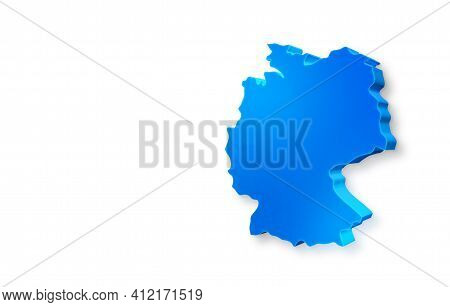 Isolated Blue 3d Map Of Germany On A White Background. Isolated 3d Illustration Of A Map Of Germany.