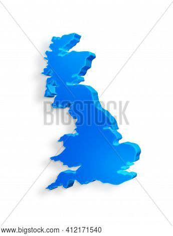 Isolated Blue 3d Map Of United Kingdom On A White Background. Isolated 3d Illustration Of A Map Of U