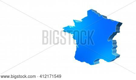 Isolated Blue 3d Map Of France On A White Background. Isolated 3d Illustration Of A Map Of France.