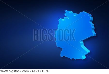 Blue 3d Map Of Germany On A Dark Blue Background. 3d Illustration Of A Map Of Germany.
