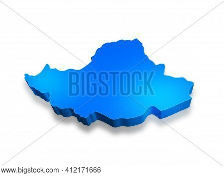 Isolated Blue 3d Map Of Iran On A White Background. Isolated 3d Illustration Of A Map Of Iran.