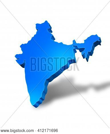 Isolated Blue 3d Map Of India On A White Background. Isolated 3d Illustration Of A Map Of India.