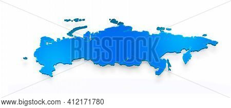 Isolated Blue 3d Map Of Russia On A White Background. Isolated 3d Illustration Of A Map Of Russia.