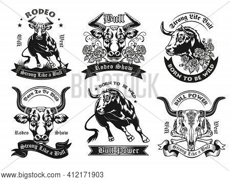 Black Label Designs With Bull Vector Illustration Set. Vintage Badges With Running Ox, Bull Head And