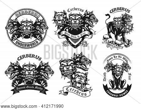 Monochrome Emblems With Cerberus Vector Illustration Set. Vintage Logotypes With Three Headed Ancien