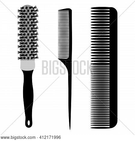Hairdressing Combs. A Barber's Tool. Combs For Hair Styling. Set Of Combs And Brushes For Hairdressi