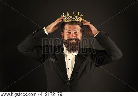 Like Never Before. King Of Style. Bearded Man Wear Golden Crown. Elegant Man In Formal Wear At Speci