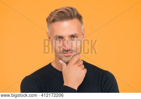 Male Portrait Concept. Men Get More Attractive With Age. Beauty Of Mature Face. Perfect Skin Tone. I