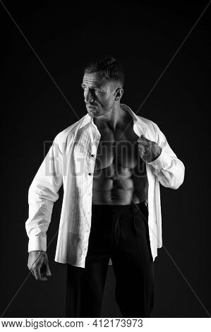 Healthy Is Sexy. Sexy Man In Formal Style. Menswear Collection. Athletic Guy With Muscular Torso. We