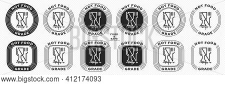 Set Of Stamps. Labeling - Not Food Grade Or Non Food Grade Materials. Glass And Fork Flat Icon Stamp