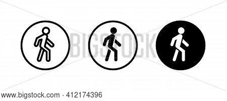 Man Walk Icon . Walking, Run Man Vector Icon. People Walk Sign Illustration. Pedestrian Vector Sign