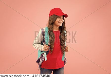 Schoolgirl Street Style Clothes. Girl Little Fashionable Cutie Carry Backpack. Schoolgirl Daily Life