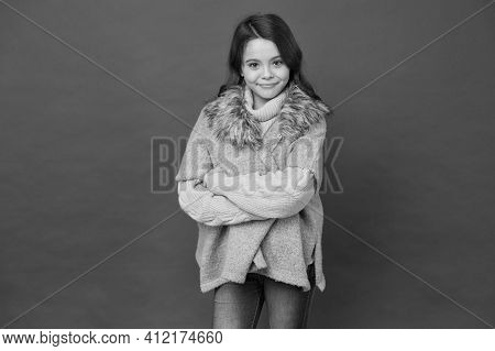 Smiling Teen Girl Feel Comfortable In Autumn Seasonal Knitwear Clothes On Red Background, Fashion Lo