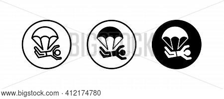 Paragliding Icon. Skydivers, Parachutist Jumping, Jumper, Parachute Sport Icons Button, Vector, Sign