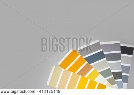 Gray And Yellow Color Palette. Color Palette With Various Samples. Color Palette With Various Sample