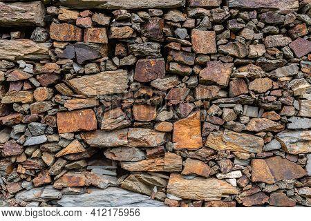 Slate Slabs Texture Background. Pattern Of Black Slate Wall
