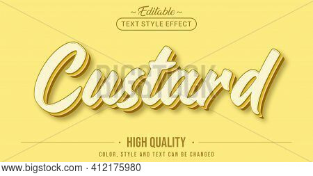 Editable Text Style Effect - Yellow Custard Text Style Theme. Graphic Design Element.
