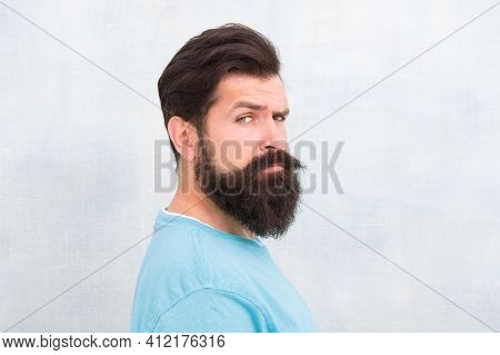 Masculinity Concept. Man Bearded Hipster Stylish Beard Grey Background. Stylish Beard And Mustache C