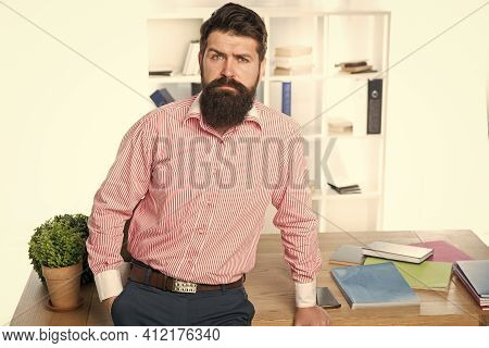 Busy Man. Business Man In Office. Bearded Man Wear Business Casual. Office Style. Attire For Work. B