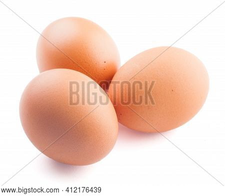 Eggs Isolated On White Background. High Quality Photo.