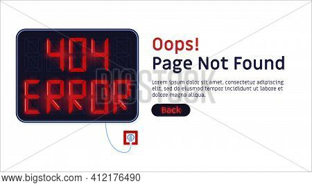 404 Error. Page Not Found Website Vector Template.