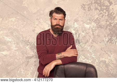 Vacant Position. Hr Department. Empty Chair. Bearded Boss Stand In Office. Office Worker. Need Chang