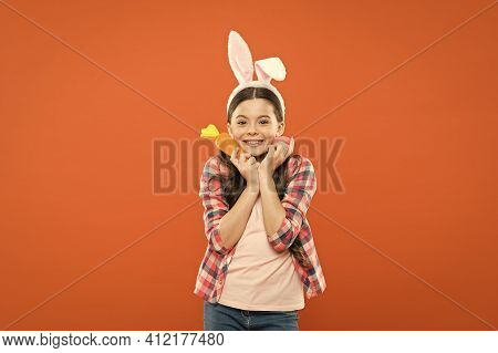 Bunny Loves You. Little Girl Rabbit Hold Carrot. Collecting And Painting Eggs. Happy Easter. Easter