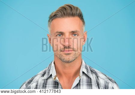 Mature Face. Male Natural Beauty. Man Well Groomed Facial Hair. Barber Shop Concept. Barber Hairdres