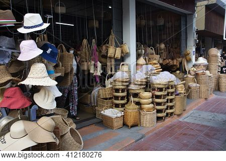 Thai People And Foreign Travelers Walking Travel Visit Handmade Products Shopping Wicker Rattan Shop