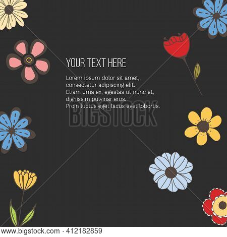 Vector Banner With Doodle Style Flowers And Place For Your Text On Black Background. Template For Si