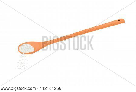 A Spoonful Of Salt Vector Stock Illustration. Cooking Recipe. Add 1 Teaspoon Of Sugar. Close-up. Iso