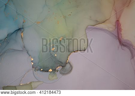 Color Abstract Background Liquid. Alcohol Ink On Paper. Gold Wave Wallpaper. Ink Acrylic Print. Abst