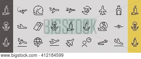 A Simple Set Of Airport Related Vector Line Icons. Contains Badges Such As Departure, Boarding, Wait