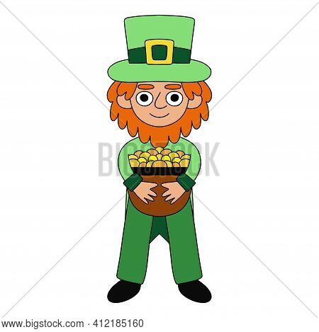 Happy Patrick Day Leprechaun With Pot Of Gold Stock Vector Illustration. Funny Colorful Irish Folklo