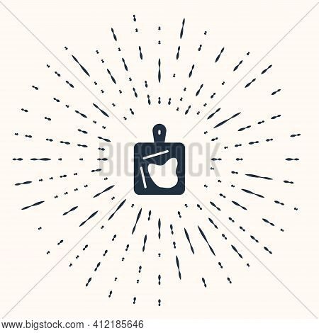 Grey Cutting Board Icon Isolated On Beige Background. Chopping Board Symbol. Abstract Circle Random