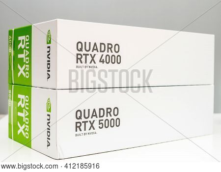 Paris, France - Mar 28, 2019: The Cardboard Package Of Two New Gpu Nvidia Quadro Rtx 4000 And Rtx 50