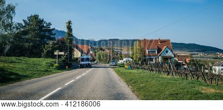 Rorschwihr, France - Apr 19, 2019: Large View Entrance From The Main Highway To The Rorschwihr Villa
