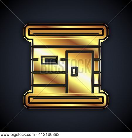 Gold Sauna Wooden Bathhouse Icon Isolated On Black Background. Heat Spa Relaxation Therapy Bath And