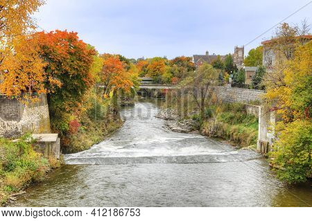 The Grand River At Fergus, Ontario, Canada In The Fall