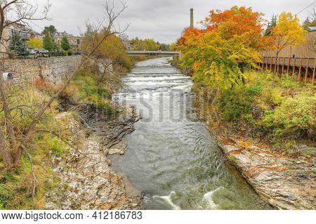 The Grand River Scene At Fergus, Ontario, Canada In Autumn