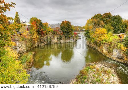 A Grand River Scene At Fergus, Ontario, Canada In The Fall