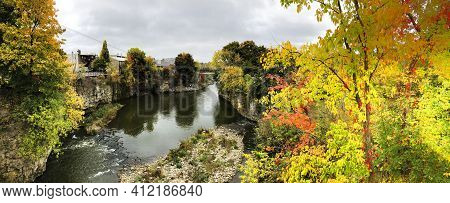 A Panorama Of The Grand River At Fergus, Ontario, Canada In The Fall