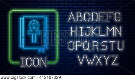 Glowing Neon Cross Ankh Book Icon Isolated On Brick Wall Background. Neon Light Alphabet. Vector