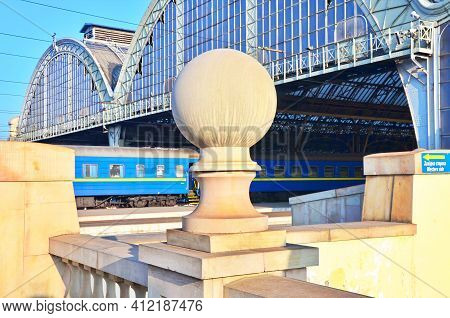 Train Platforms At The Lviv-holovnyi Railway Station, Lviv, Ukraine