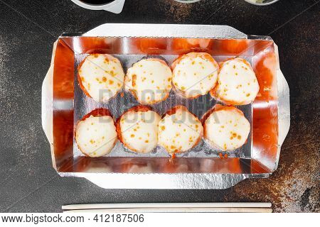 Take Away Sushi Rolls In Containers, Philadelphia Rolls And Baked Prawn Rolls Set, On Old Dark Rusti