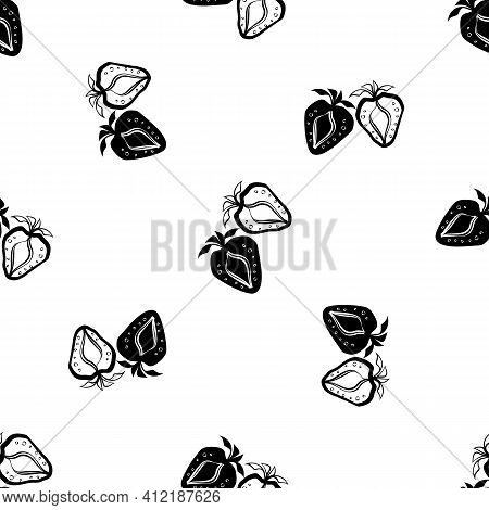 Strawberry Linocut Seamless Vector Pattern Background. Stencil Style Hand Drawn Pairs Of Berries On