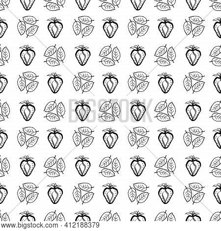 Strawberry And Leaf Linocut Seamless Vector Pattern Background. Stencil Style Berries And Leaves On