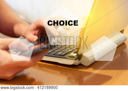 The Man Explores A Choice Of 2 Categories. The Right Choice, The Best Option.