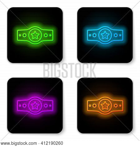 Glowing Neon Line Boxing Belt Icon Isolated On White Background. Belt Boxing Sport Championship Winn